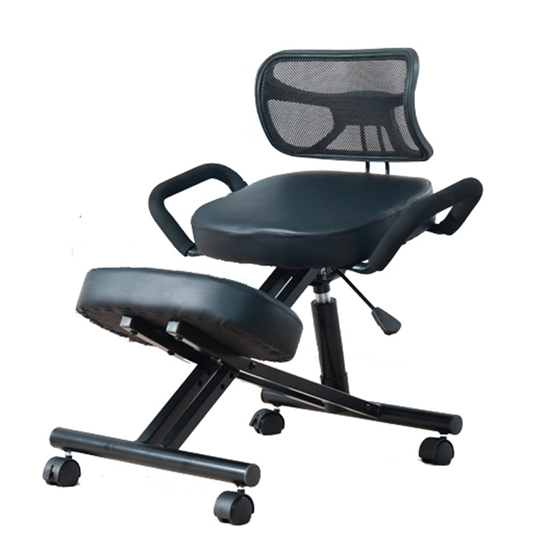 A Ergonomically Designed Knee Chair with Back and Handle Office Kneeling Chair Ergonomic Posture Leather Black Chair With CasterA Ergonomically Designed Knee Chair with Back and Handle Office Kneeling Chair Ergonomic Posture Leather Black Chair With Caster