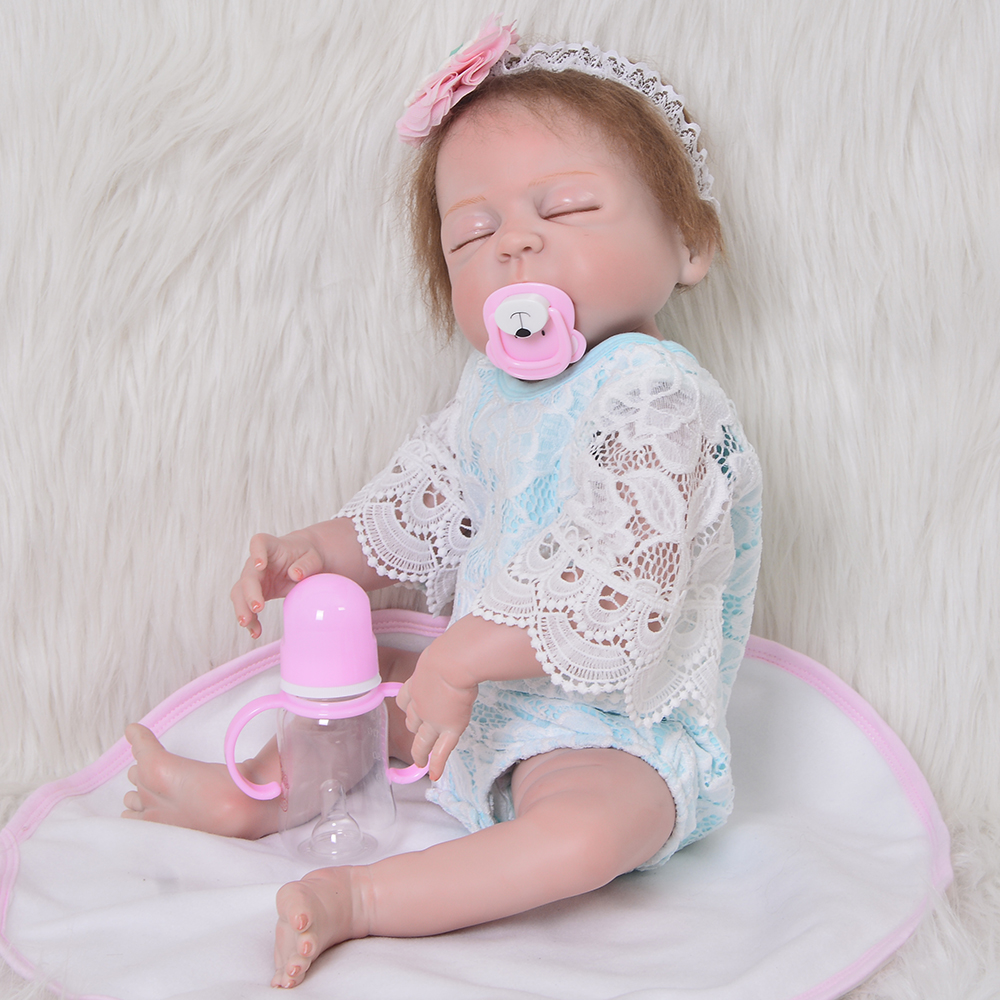 Fashion 23 Inch Reborn Baby Girl Doll Full Silicone Vinyl Baby Reborn Realistic Princess Baby Doll Toy For Kids Birthday Gifts цена