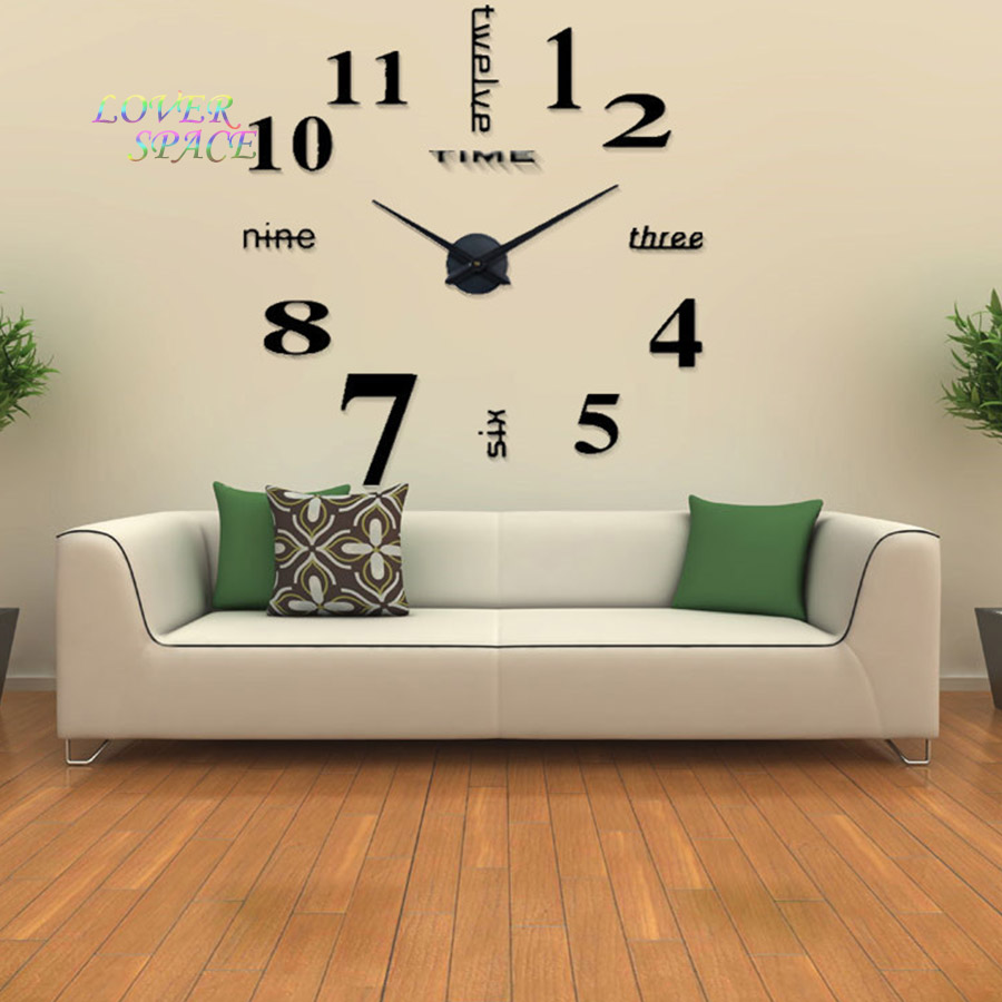 Simple Ideas For Home Decoration Part - 30: Europe Simple Ideas NEW Quartz Huge Wall Clock Modern Home Decoration DIY  Acrylic Mirror Wall Sticker For Living Room 100X100CM-in Wall Clocks From  Home ...