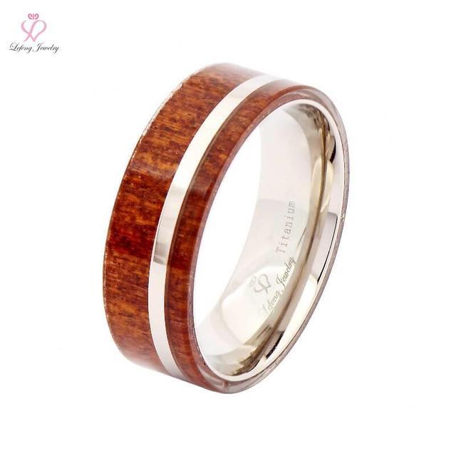 2016 New Arrival Hawaii Koa Wood Inlay Titanium Wedding Bands 8mm Promise Engagement Rings