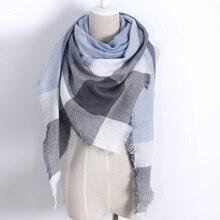 2016 Winter soft Warm Cashmere Brand Scarf  Women Multifunctional Fashion Plaid Triangle Shawl Wrap Ring