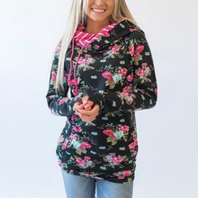 Floral printed Pullover Women Casual Hoodies Female O-neck Autumn Sweatshirt Lace Hooded tops
