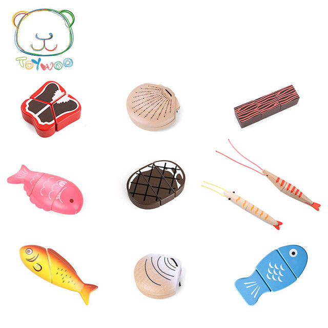 Kids Kitchen Toys Wood Countertops Toy Woo Educational Wooden House Simulation Fish Meat Seafood Montessori Education Gifts