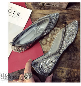 Image 5 - SWYIVY Womants Flats Shoes Rhinestone Autumn Spring New Female Luxury Crystal Casual Shoes Pointed Toe Comfortable Flats 40 Size
