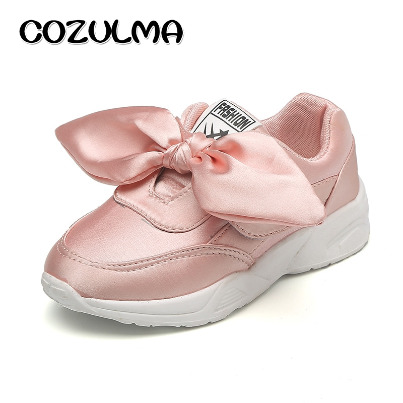 COZULMA Anak Sepatu Kain Sutra Busur Gadis Mode Sneakers Musim Gugur Gaya EVA Sole Bernapas Anak Sepatu Olahraga Datar 3 Warna