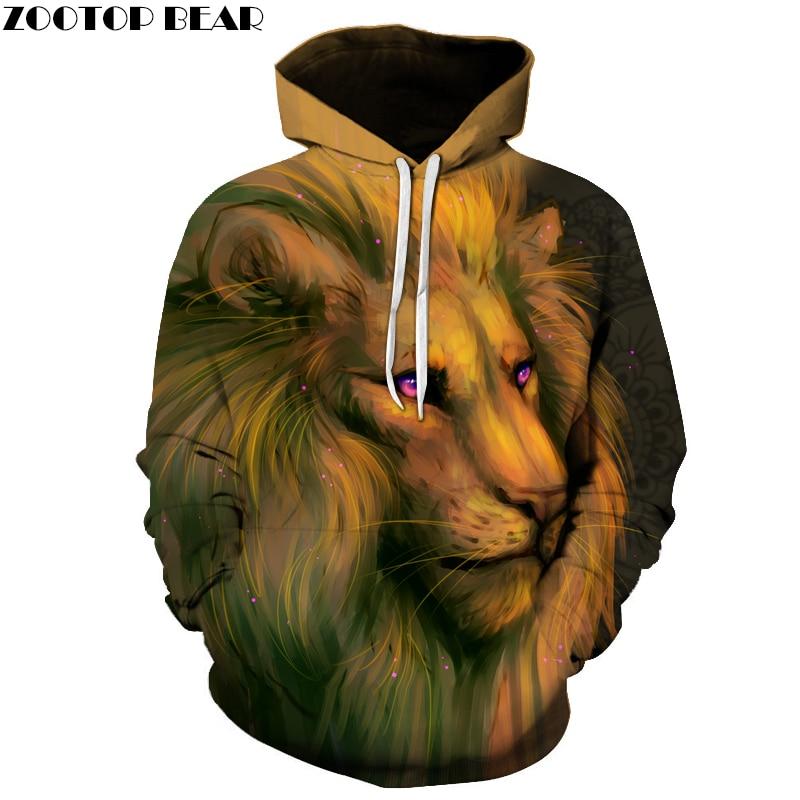 Funny Lion Printed 3D Sweatshirts Men Women Tracksuits Male Jackets Harajuku Outwear Cool Hooded Steetwear Hoodies Pullover