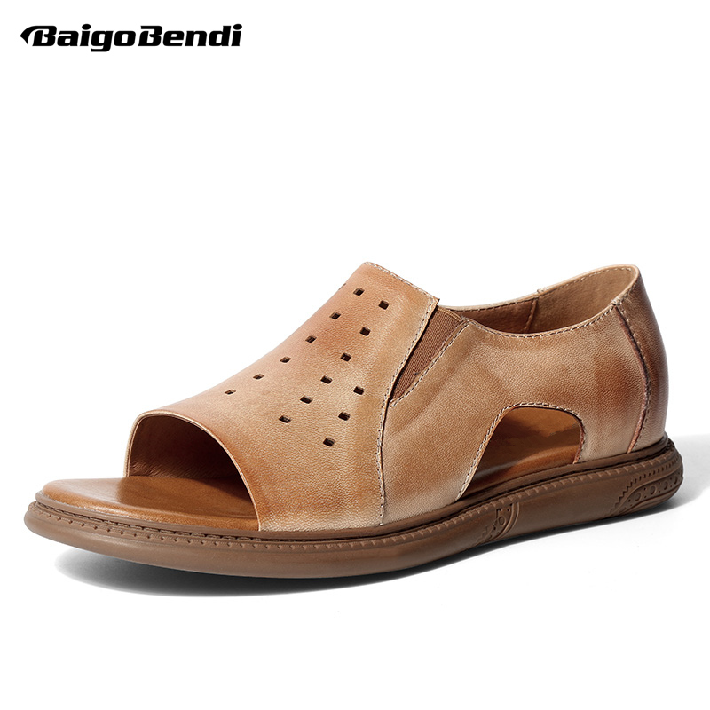 Supper Recommand REAL Leather Leisure Men Gladiator Slip On Hollow out Sandals Man Casual Summer Slippers Beach Shoes