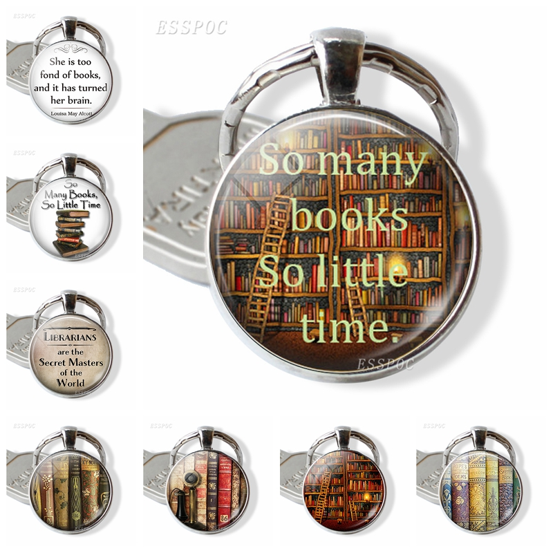 """Books And Library Keychain """" So Many Books, So Little Time """" Quotes Glass Cabochon Pendant Women Fashion Jewelry Gift For Friend"""