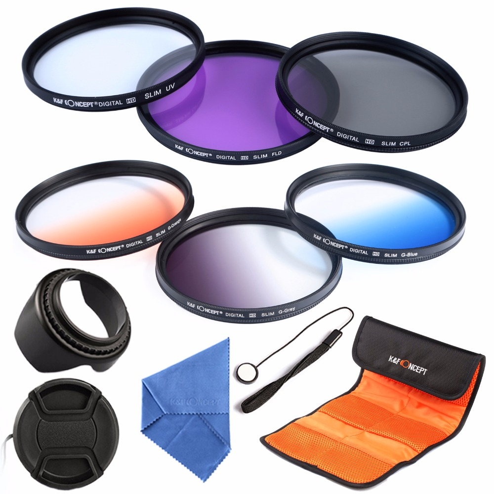 67mm UV CPL FLD Graduated Color Lens Photography Filter Kit For Canon 700D 1100D 1200D 600D