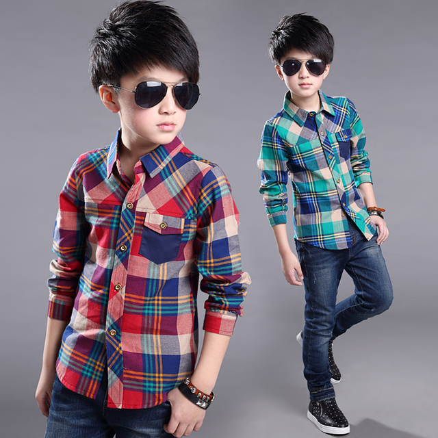 6-14 years New fashion comfortable childrens shirt boy clothing girls tops blouses plaid boys kids shirt