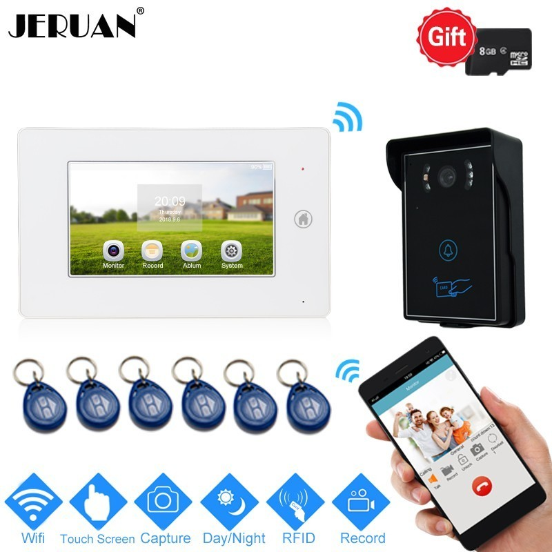 JERUAN NEW Smart Wifi 7 Inch Touch Screen Video Door Phone Doorbell Intercom System Kit RFID Access Camera Support Android IOS jeruan ip wifi 7 inch touch screen video doorbell intercom system kit 720p ahd record monitor ir coms camera support android ios