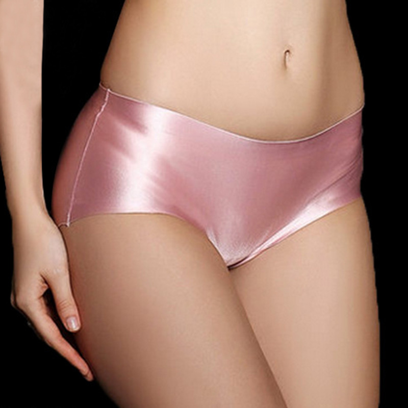 Playing pink satin panties tmb
