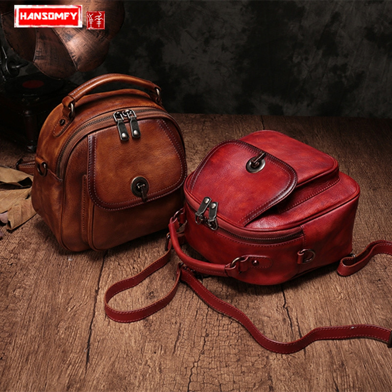 2019 new Women Backpacks genuine leather female shoulder bags portable three use wild soft leather casual