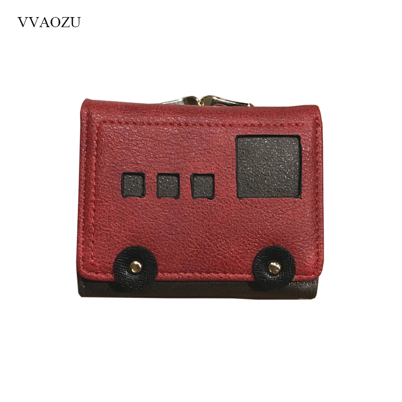Small Bus Style Wallets Women Leather Clutch Female Short Coin Purses Money Credit Card Holders Bags Gift for Girls new designer phone wallets women brand leather long red coin purses female clutch wallets for gift money bag credit card holders page 6