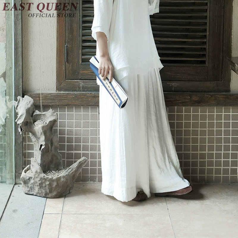 Китайская традиционная Восточная одежда, хлопковые льняные широкие штаны, повседневные женские штаны, одноцветные женские летние штаны KK843 SQ