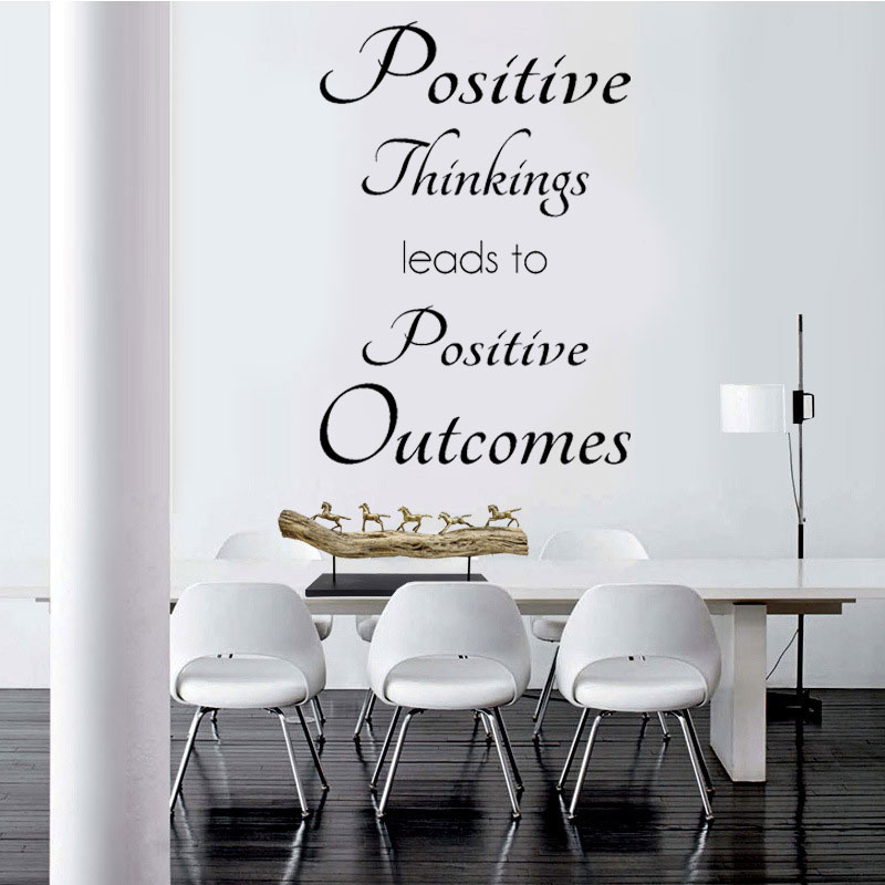 Positive Thinkings Wall Sticker Inspirational Quote English Art Wall Decal Office Home Decor Room Removable Mural A347