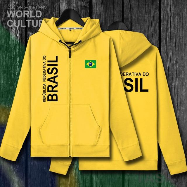 Brazil Brasil BRA Brazilian BR men zipper fleeces hoodies winter jerseys men jackets and nation clothes country sweatshirt coat