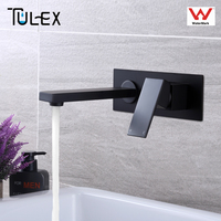 TULEX Bathroom Faucet Wall Mounted Hot& Cold Water Mixer Matt Black Brass Basin Mixer Concealed Mixer Crane for Bathroom