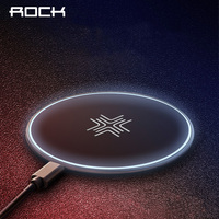 10W Wireless Charger ROCK Qi Fast Wireless Charging Pad LED Breathing Light For IPhone X 10