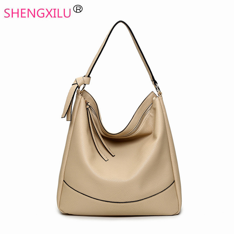 Shengxilu tassel hobos women shoulder bag black leather brand girls bags shopping ladies handbags female big totes women bags