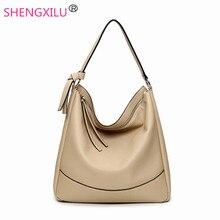 Shengxilu кисточкой hobos женщины сумка черная кожа марка девушки сумки женские сумки женские большие сумки женщин сумки