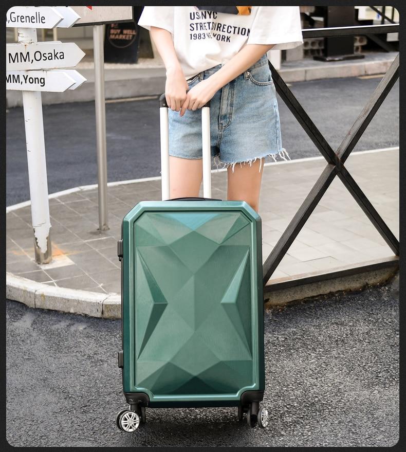 Letrend di Colore di Modo ABS Trolley Spinner Donne Trolley Valigia Ruote 20/24 pollici Carry Sulla Borsa Da Viaggio Hardside Tronco - 6