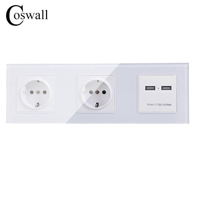 COSWALL pared cristal Panel doble toma de corriente con conexión a tierra 16A EU toma de corriente con doble puerto de carga inteligente USB 5 V 2A