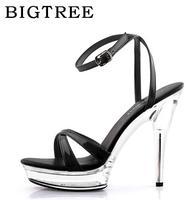 Shoes Woman Ultra High Heels 12 Cm Waterproof Platform Transparent Crystal Sandals Wedding Shoes Dress Shoes