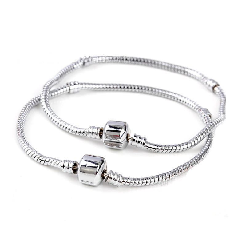 DIY Pulseira Beads Charms Fits <font><b>Pan</b></font> <font><b>Bracelet</b></font> for women 18CM-22CM 1PCs ONLY Silver 3MM Snake free shipping on Chain Fits European image