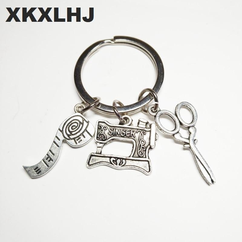 2018 Fashion Jewelry Sewing Machine Keychain, Seamstress Key Chain, Quilters Keychain Silver Dres S Elegant