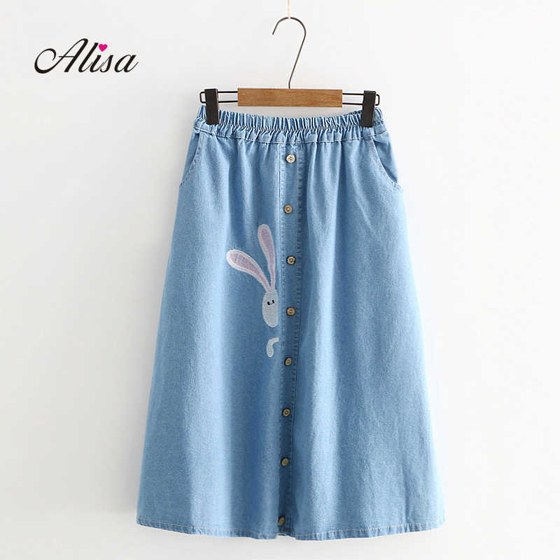 30376b72f658 Embroidery Printed Skirts Denim Clothing Women Spring Casual High Waist A-line  Skirts Solid Medium