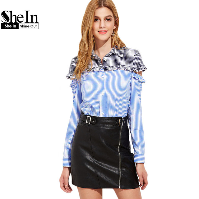 SheIn Womens Tops and Blouses Long Sleeve Shirt Women Lapel Blue Striped Contrast Gingham Yoke Cut Out Ruffle Blouse