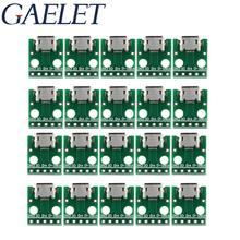 10/20PCS Micro USB to DIP Adapter Connector Module Board Panel Female 5-Pin Pinboard 2.54mm Micro USB PCB 35pcs 7value 5pcs pcb board kit smd turn to dip adapter converter plate sop msop ssop tssop sot23 8 10 14 16 20 24 28 smt to dip