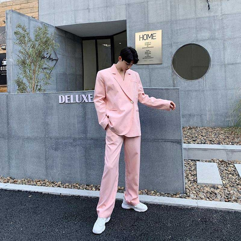 Pink Prom Party Suits Men Suits For Wedding Man Blazers Groomsmen Tuxedos Double Breasted 2Piece Costume Homme Terno Masculino