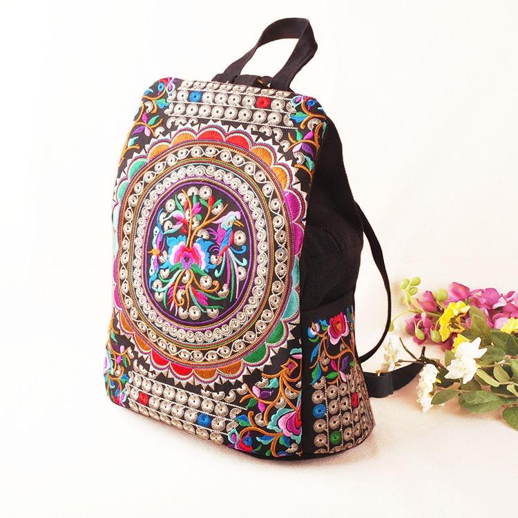 Hot Women Käsintehdyt kukka Brodeerattu laukku Canvas National Trend Kirjonta Etninen reppu Matkalaukut Schoolbags mochila