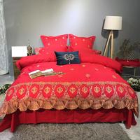 Египетского хлопка с вышивкой Комплект постельного белья Стёганое одеяло/пододеяльник постельный комплект наволочка роскошные постельны
