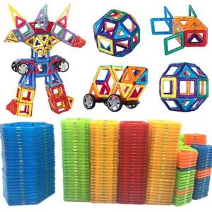 Image 1 - 47 129PCS Magnet Toy Building Blocks Magnetic Construction Sets Designer Kids education toddler Toys for children Christmas Gift