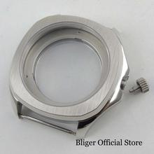 High Quality Silver Color Stainless Steel Watch Case Sapphire Glass Fits for MIYOTA Automatic Movement new 45mm polished stainless steel case high quality hardened mineral glass fit 6497 6498 st 36 molnija movement watch case