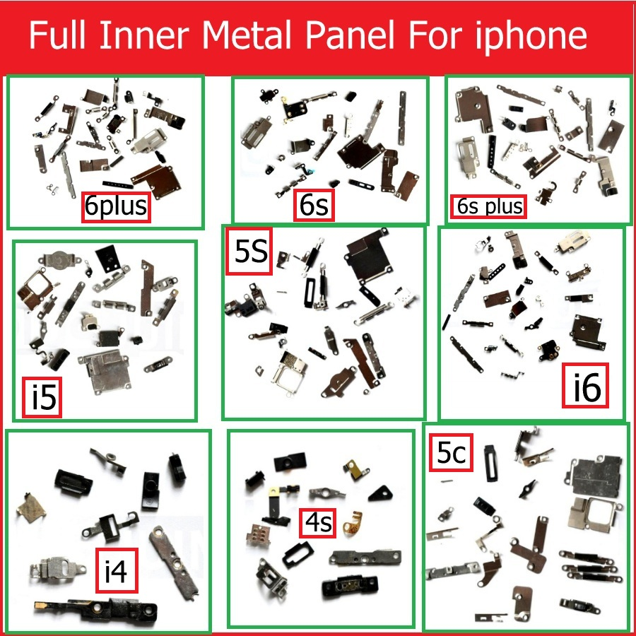 Full Body Inner Small Metal Iron Parts For IPhone 4 4s 5 5c 5s 6 6s Plus Small Holder Bracket Shield Plate Set Kit Phone Parts