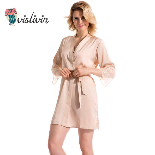 3f1220db5b85 Online Shop Vislivin Summer Dress Silk Robe Women s Pajamas Sexy Bathrobe  Dressing Gowns For Women Sleep Lingerie Pajamas Night Bathrobes