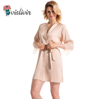 Vislivin 2017 New Product Mid Sleeve Sexy Women Nightwear Robes Lace Real Silk Female Bathrobes 9
