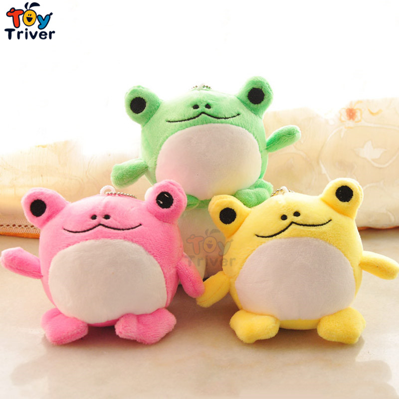 Cute Plush Green Pink Yellow Frog Toy Doll Key Chain Bag Pendant Accessory Wedding Birthday Shop Party Cheap Gift Present Triver couple frog plush toy frog prince doll toy doll wedding gift ideas children stuffed toy