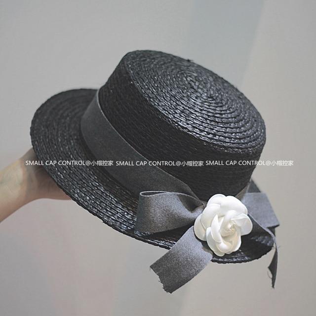 Nueva Alta Calidad Del Verano de Paja de la Rafia Sombreros Para Las Mujeres Floral SCCDS-024 Sol Playa Sombreros Sombrero Superior Plana Envío Libre