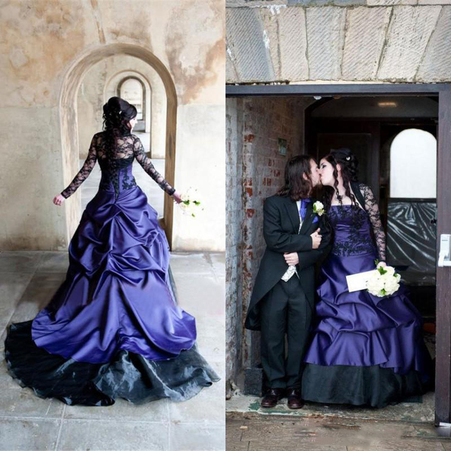 2017 wedding dress black and purple bridal gowns long for Blue gothic wedding dresses