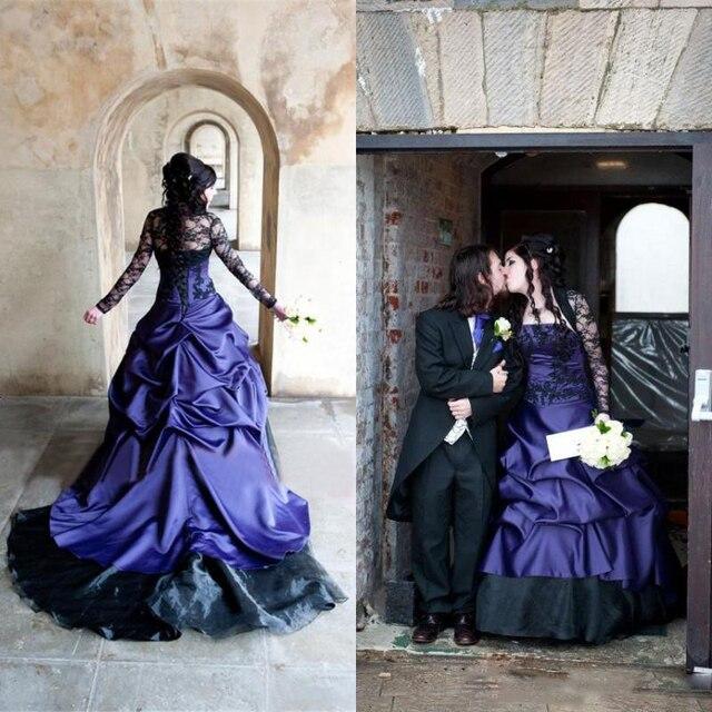 2017 Hochzeit Kleid Schwarz Und Lila Brautkleider Langarm Vintage