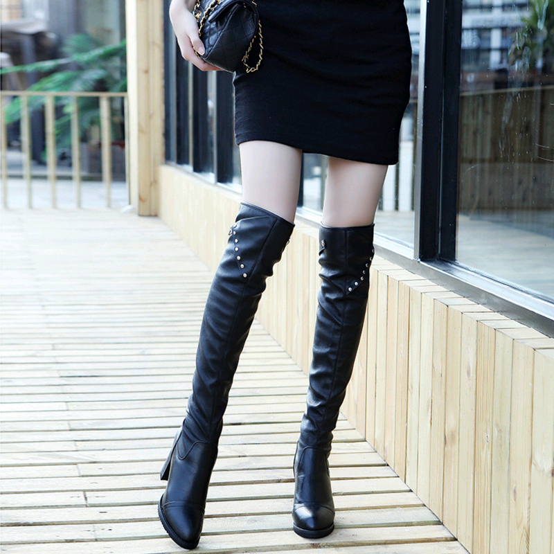 New Women 39 s Winter boots Sexy Thigh High Boots Suede Leather For Plus Women Sleeve Rivets Buckle High Heel Boots Botas Feminins in Over the Knee Boots from Shoes