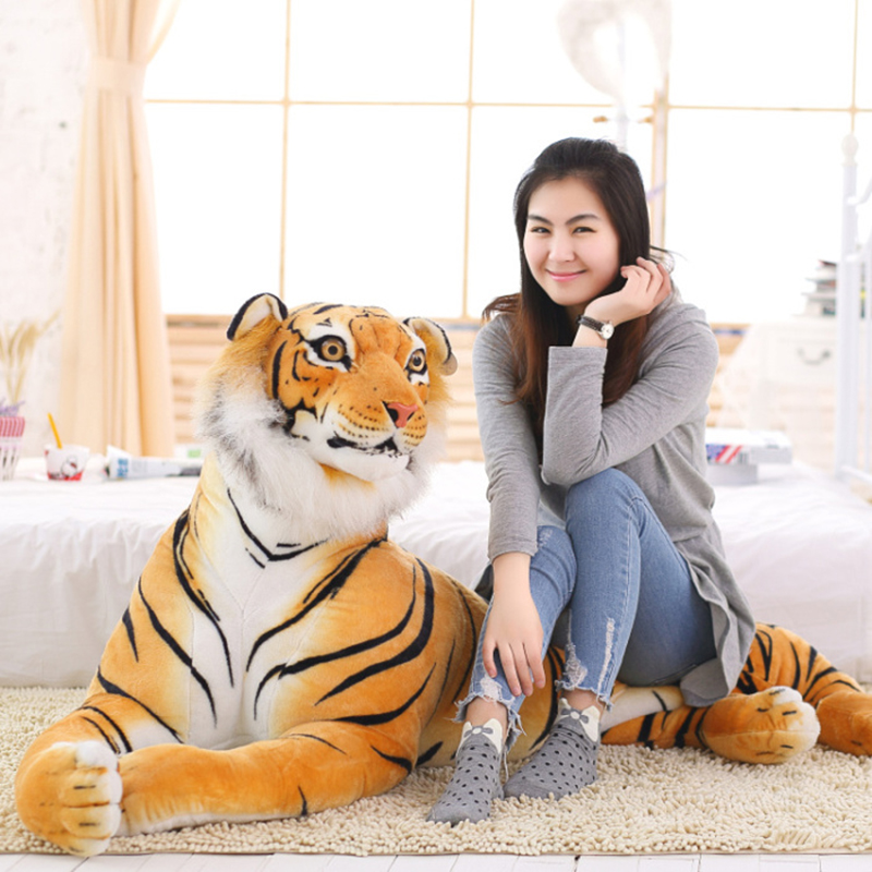 30-120 Cm Lifelike Tiger Leopard Plush Toys Soft Wild Animals Simulation White Tiger Jaguar Doll Children Kids Birthday Gifts