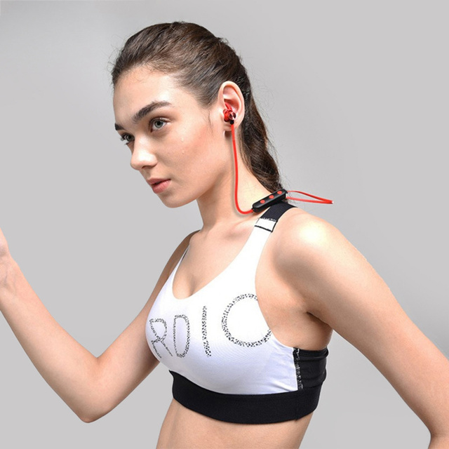 Magnetic Attraction Bluetooth Earphone Headset Waterproof Sports 5.0 With Charging Cable Earphone Build-in Mic Pluggable card