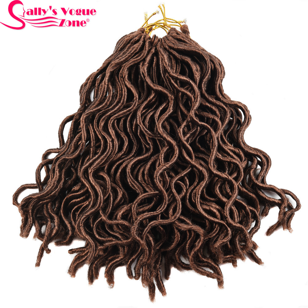 6 Packs 24 Strands/Pack Faux Locs Curly Crochet Braids Synthetic Hair Extension 10inches 18inch 8 Colors Locks Bug Black