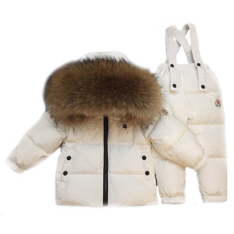 Mioigee 2017 NEW Russian winter baby boy suit duck down children jacket for girl coat overalls warm jacket kid girl clothes set children duck down winter warm jacket with fur baby boy girl solid overcoat hooded winter jacket kid clothing fashion down coat